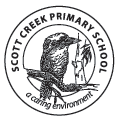Scott Creek Primary School Logo. A Kookaburra with the text - a caring environment.